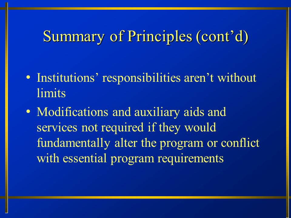 Summary of Principles (cont'd)