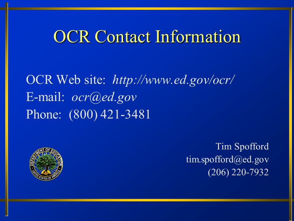 OCR Contact Information OCR Web site:     Phone: (800)