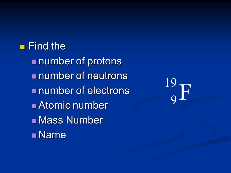F 19 9 Find the number of protons number of neutrons