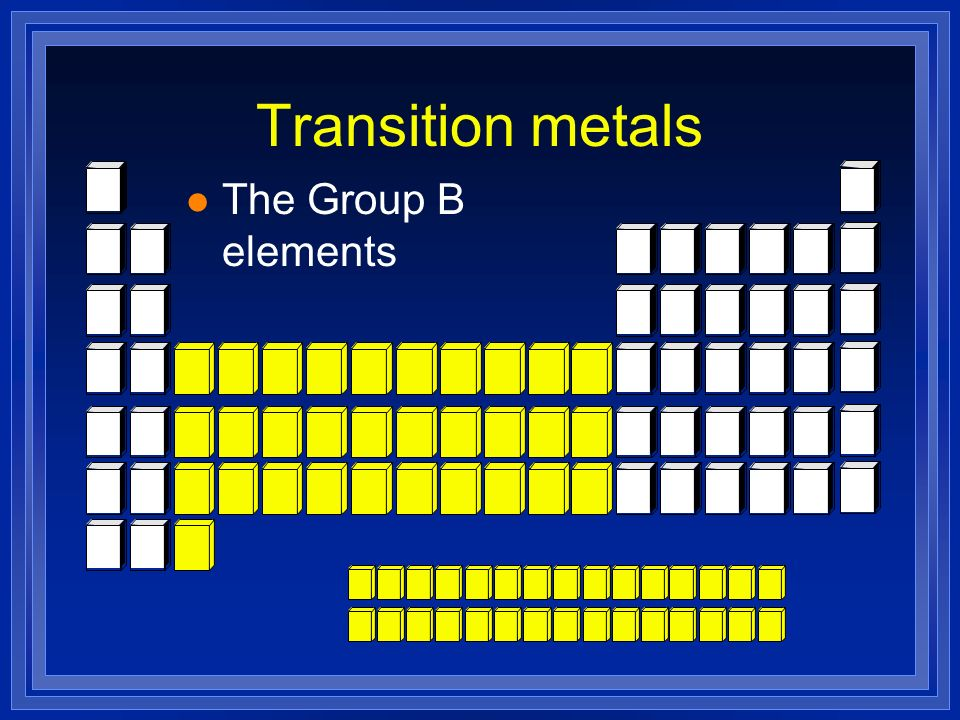 Transition metals The Group B elements