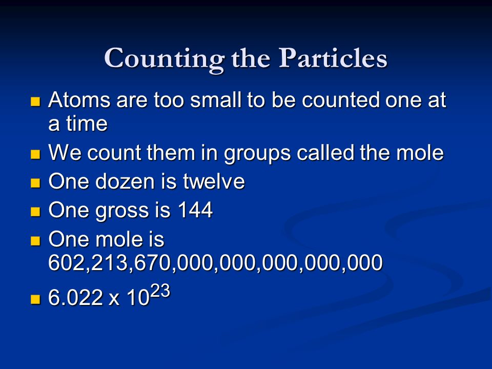 Counting the Particles