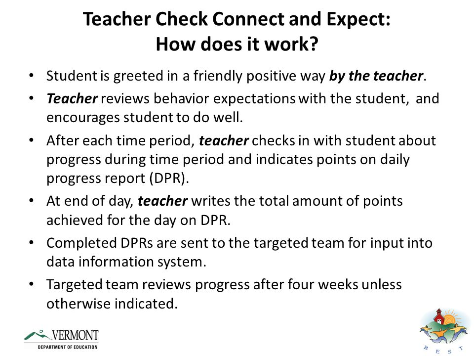 Teacher Check Connect and Expect: How does it work
