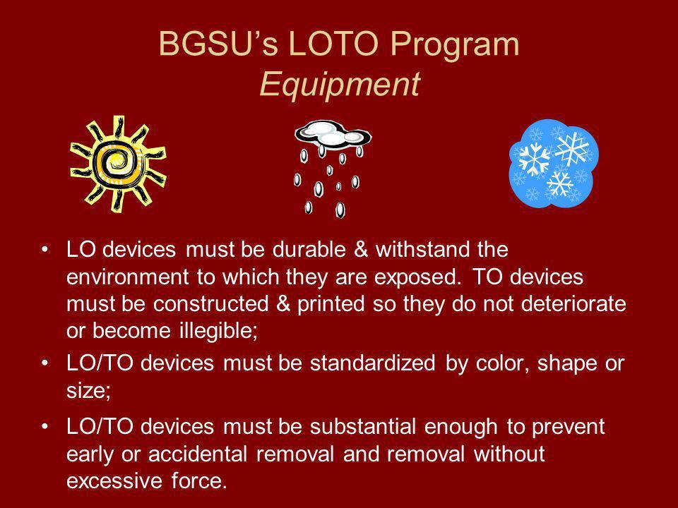 BGSU's LOTO Program Equipment