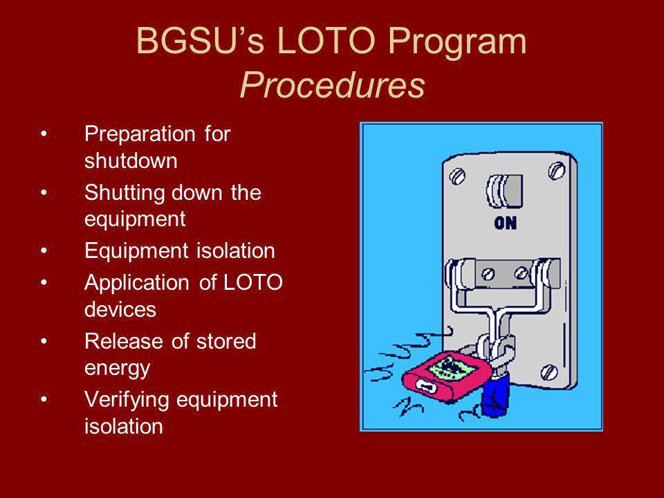 BGSU's LOTO Program Procedures