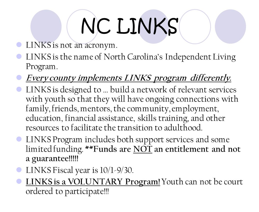 NC LINKS LINKS is not an acronym.