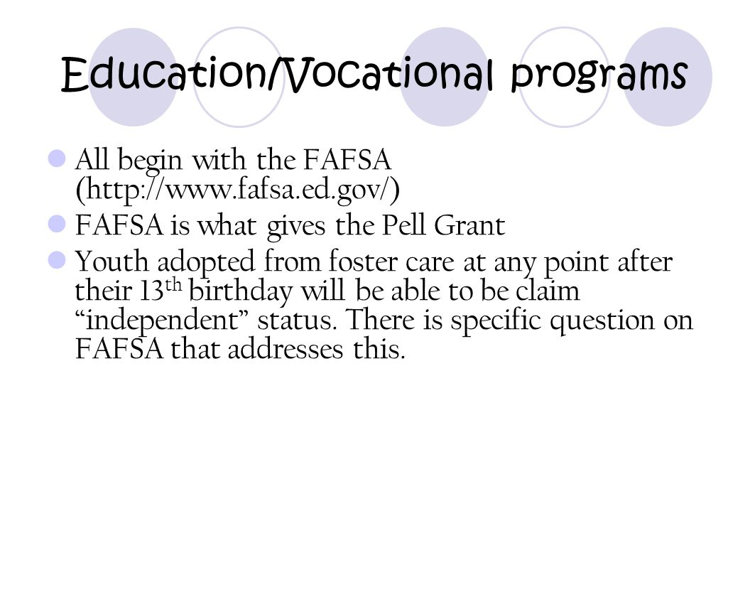 Education/Vocational programs