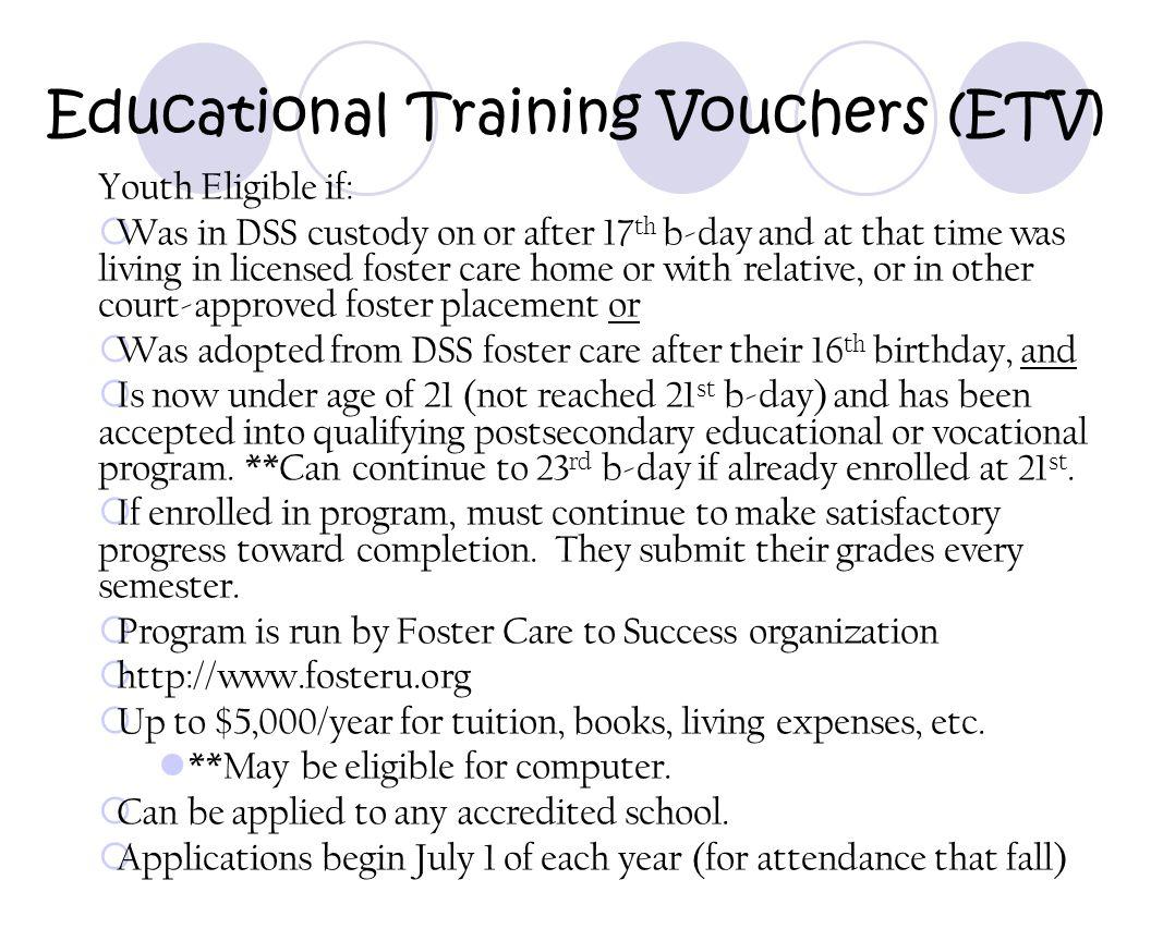 Educational Training Vouchers (ETV)