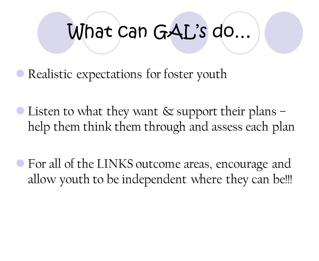 What can GAL's do… Realistic expectations for foster youth
