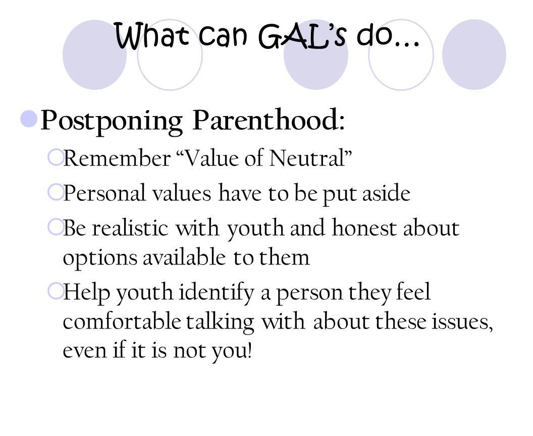 Postponing Parenthood:
