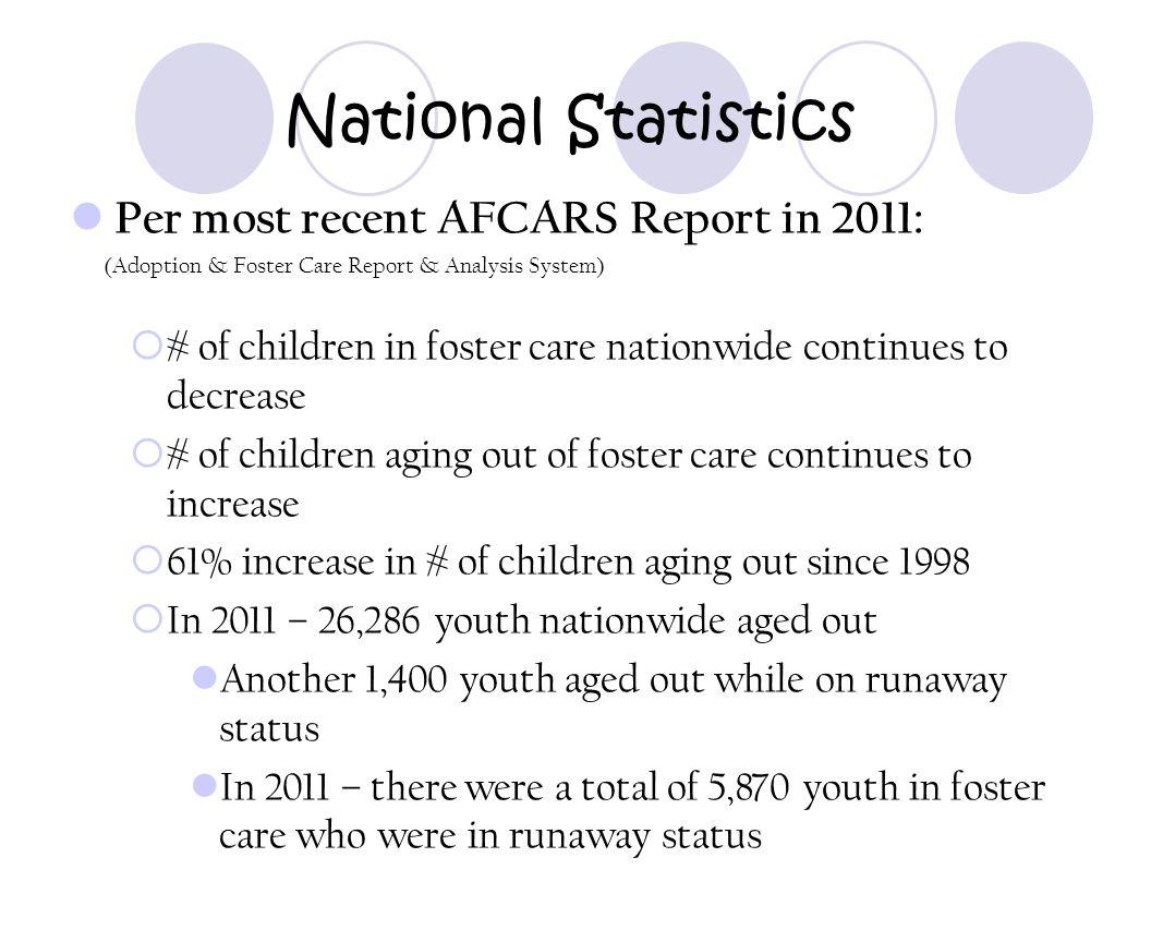 National Statistics Per most recent AFCARS Report in 2011: