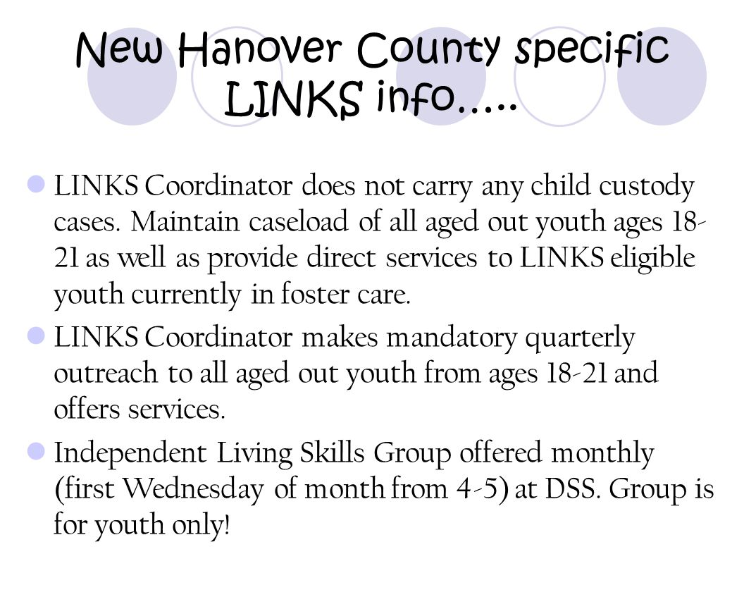 New Hanover County specific LINKS info…..