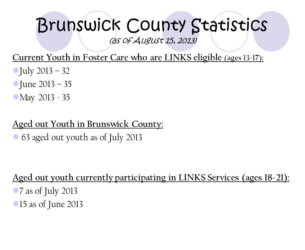 Brunswick County Statistics (as of August 15, 2013)