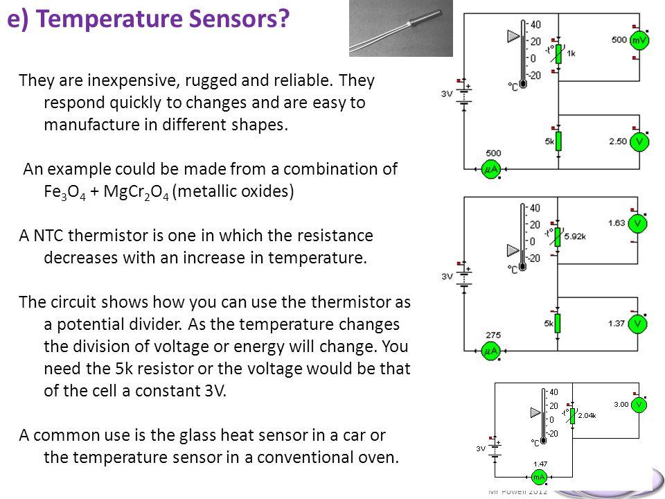 e) Temperature Sensors