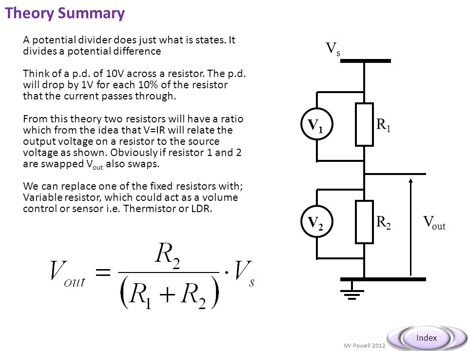 Theory Summary V1 V2 Vs R1 R2 Vout