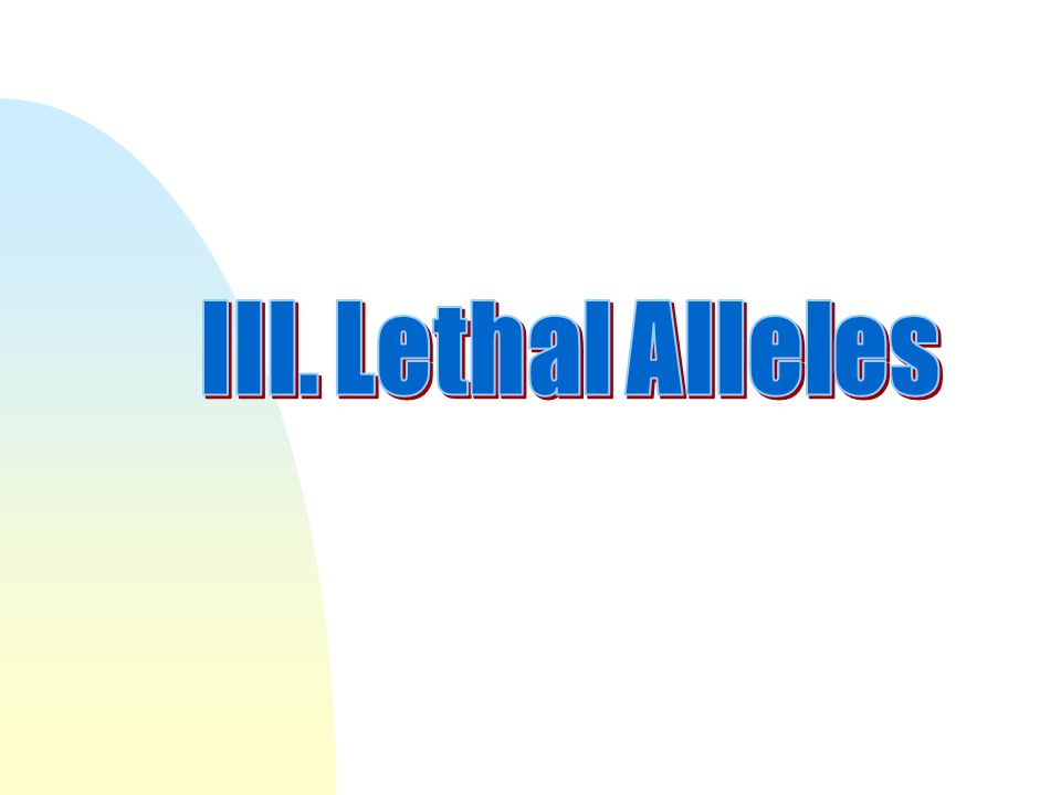 III. Lethal Alleles