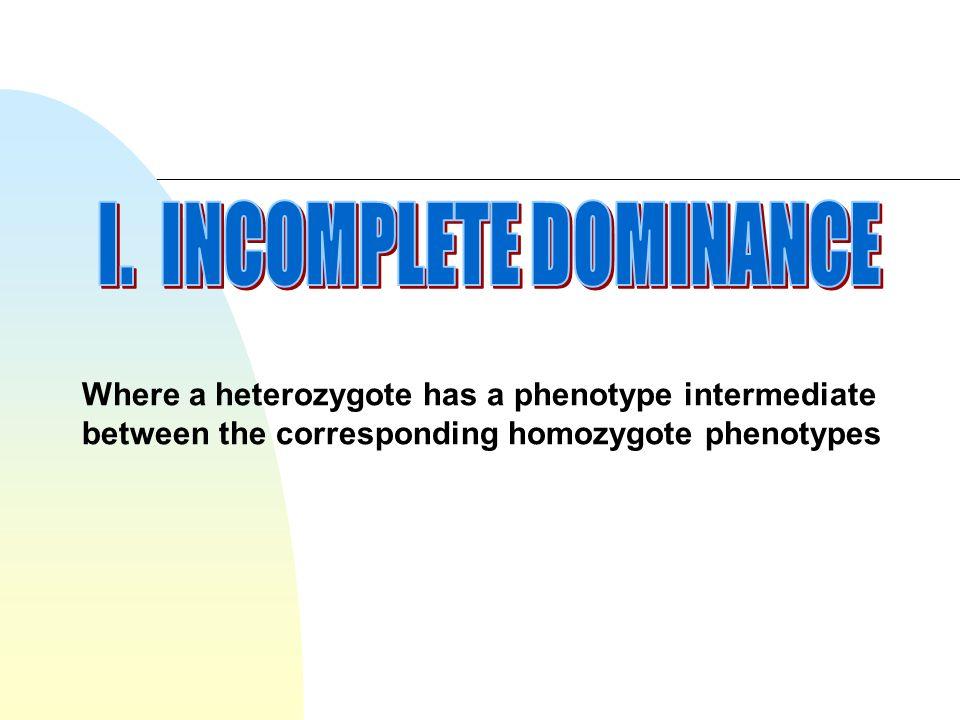 I. INCOMPLETE DOMINANCE