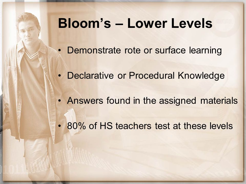 Bloom's – Lower Levels Demonstrate rote or surface learning