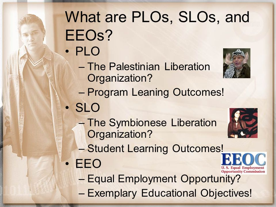 What are PLOs, SLOs, and EEOs