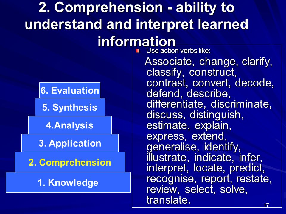 2. Comprehension - ability to understand and interpret learned information