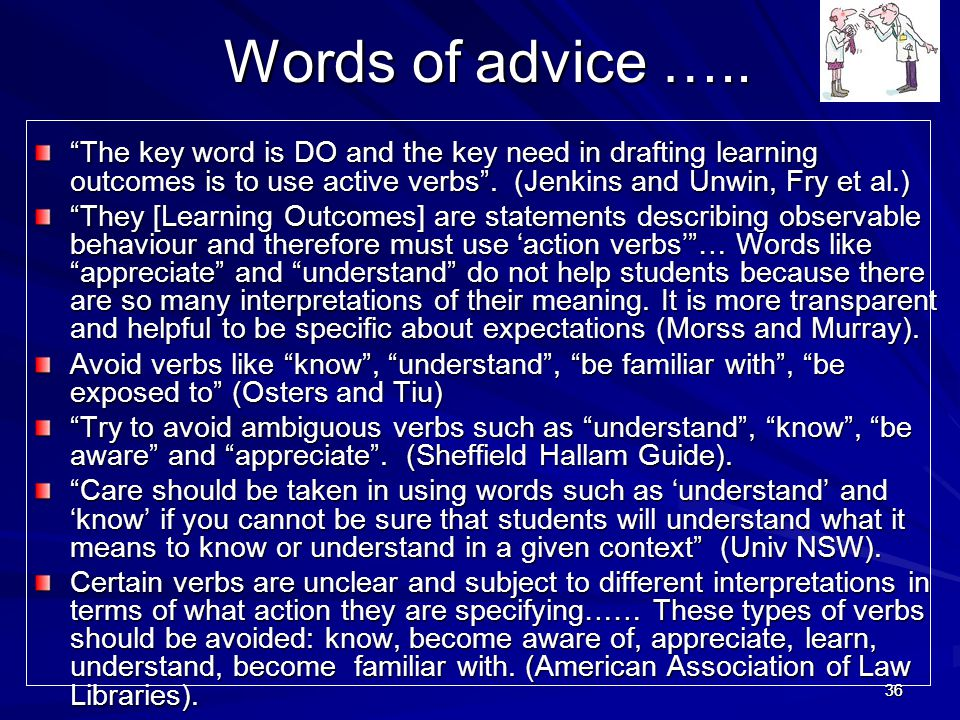 Words of advice ….. The key word is DO and the key need in drafting learning outcomes is to use active verbs . (Jenkins and Unwin, Fry et al.)