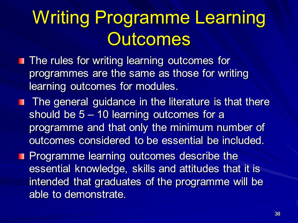 Writing Programme Learning Outcomes