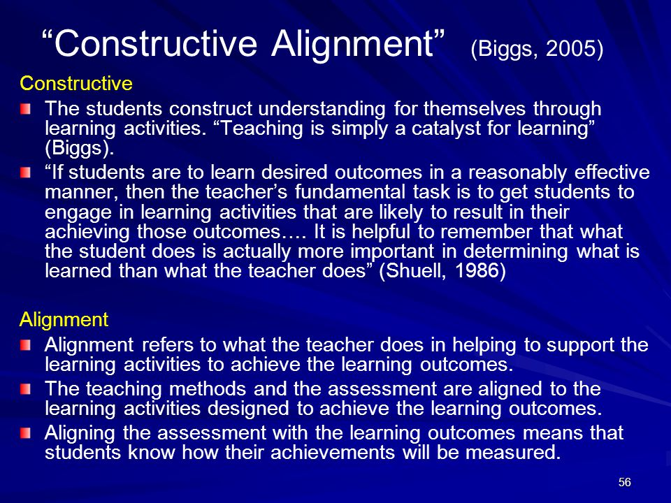 Constructive Alignment (Biggs, 2005)