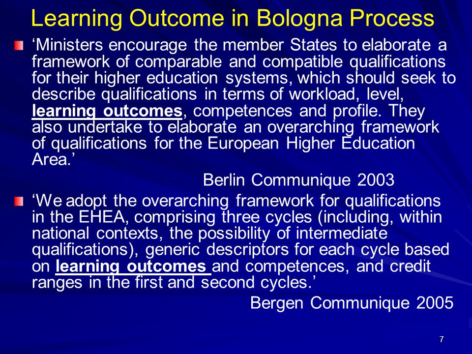Learning Outcome in Bologna Process