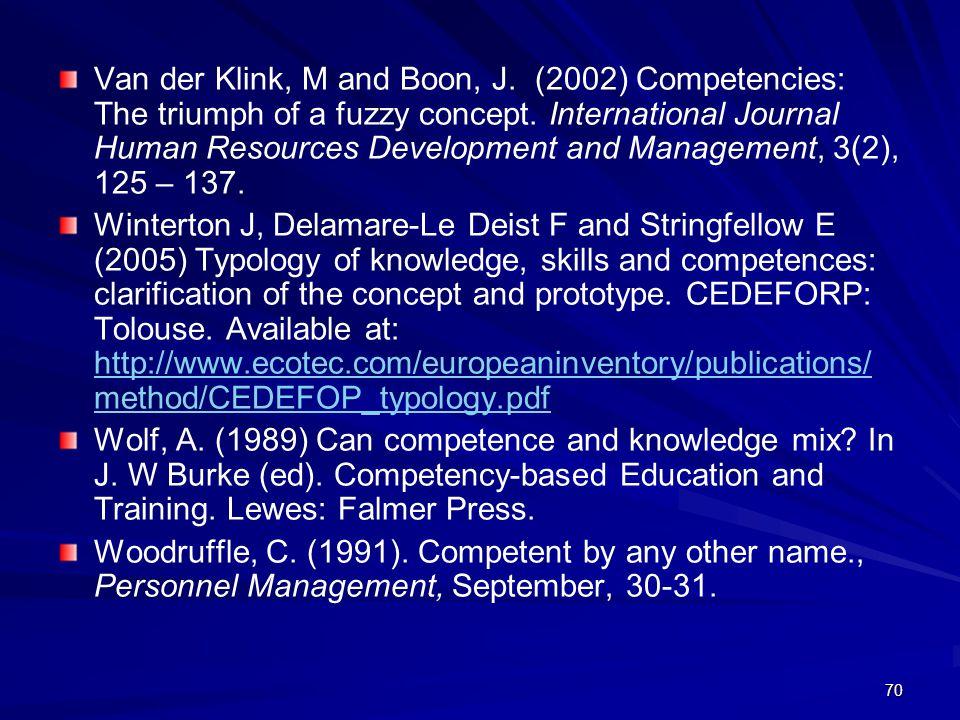 Van der Klink, M and Boon, J