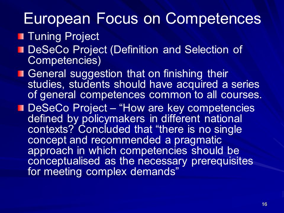 European Focus on Competences