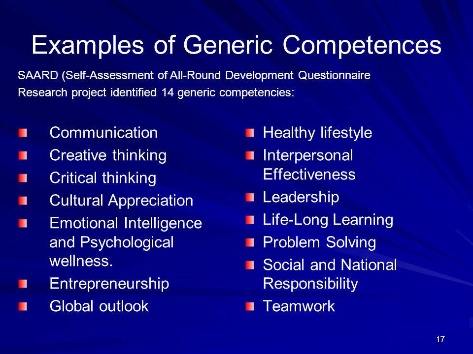 Examples of Generic Competences