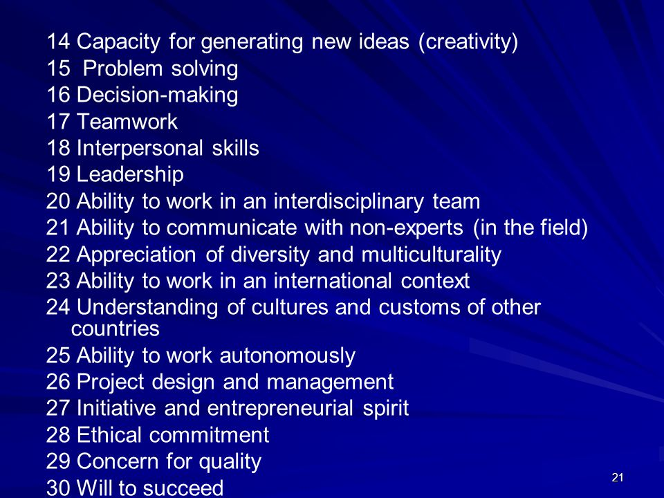 14 Capacity for generating new ideas (creativity)
