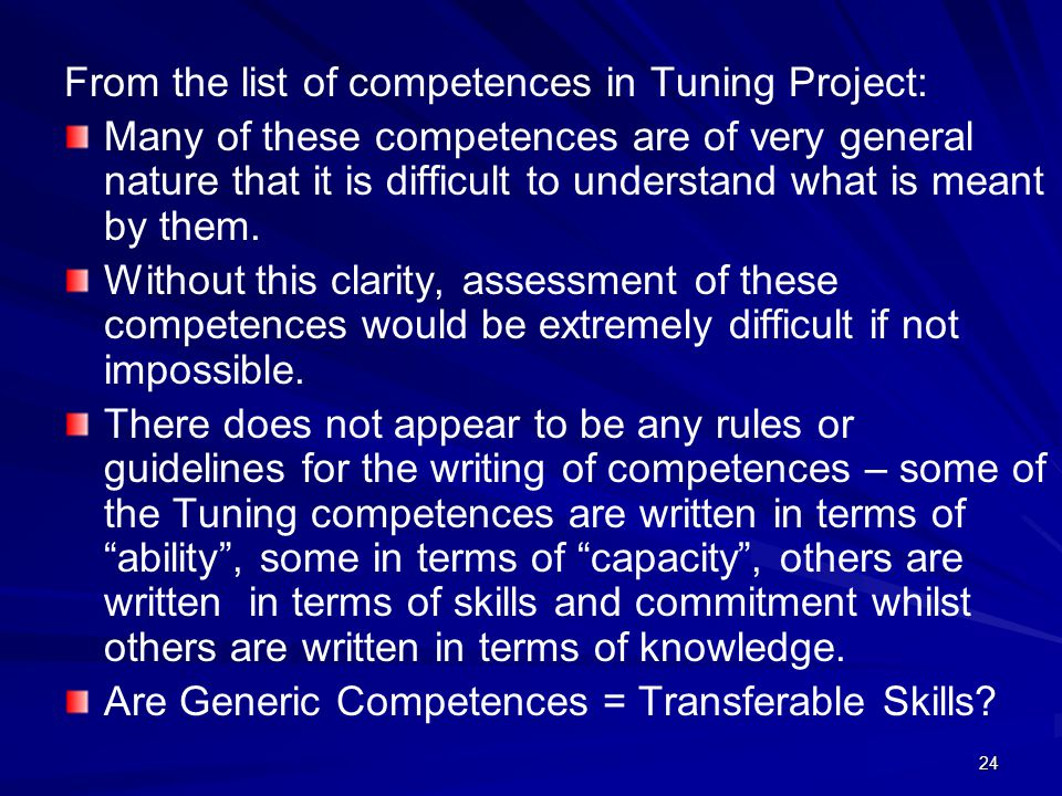 From the list of competences in Tuning Project: