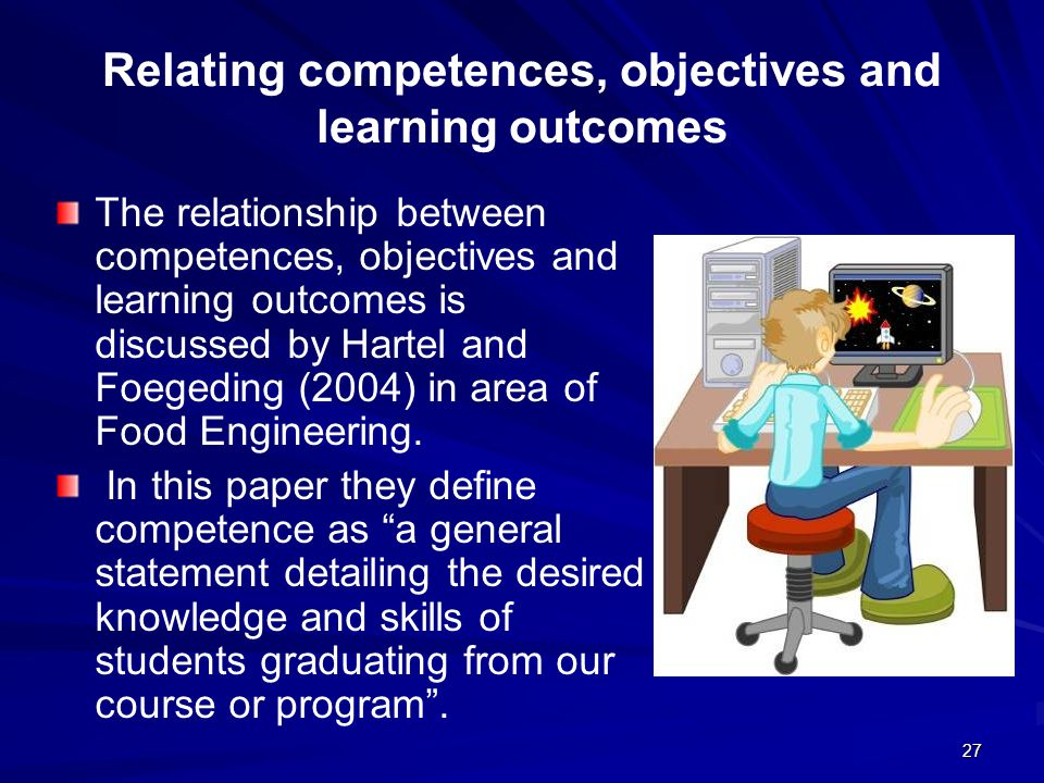 Relating competences, objectives and learning outcomes