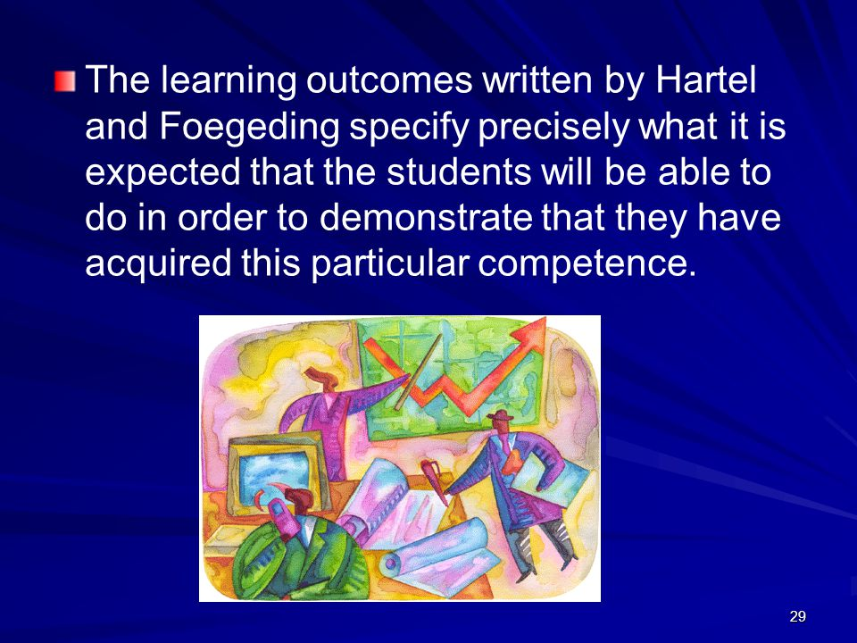 The learning outcomes written by Hartel and Foegeding specify precisely what it is expected that the students will be able to do in order to demonstrate that they have acquired this particular competence.