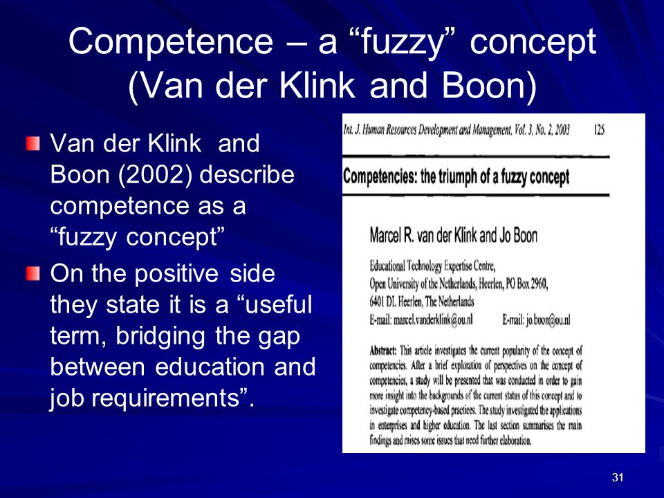 Competence – a fuzzy concept (Van der Klink and Boon)