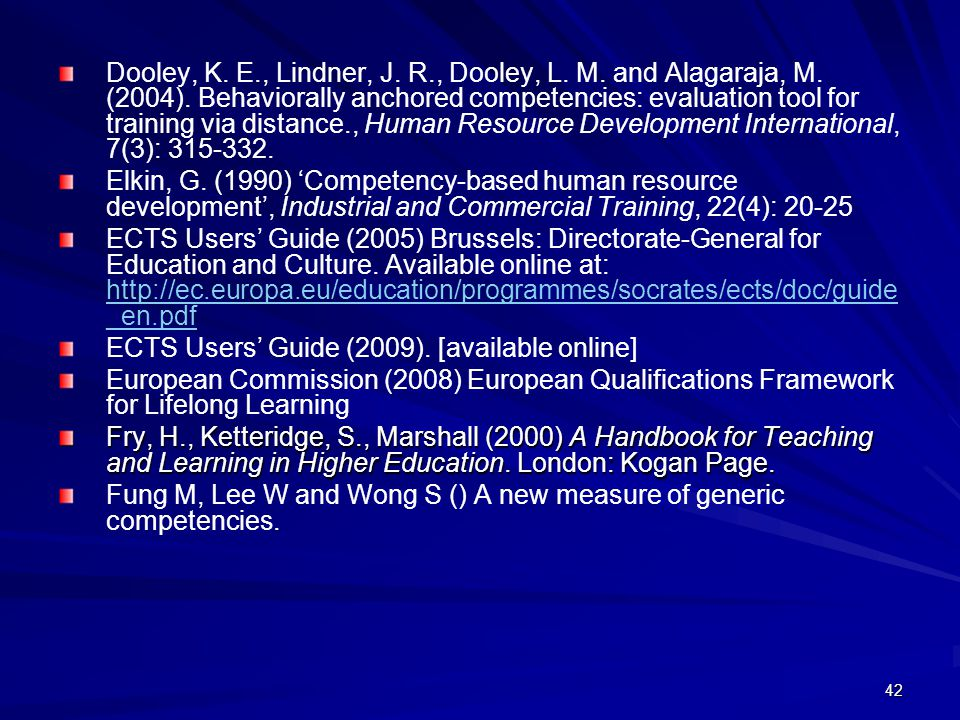Dooley, K. E., Lindner, J. R., Dooley, L. M. and Alagaraja, M. (2004). Behaviorally anchored competencies: evaluation tool for training via distance., Human Resource Development International, 7(3): 315-332.