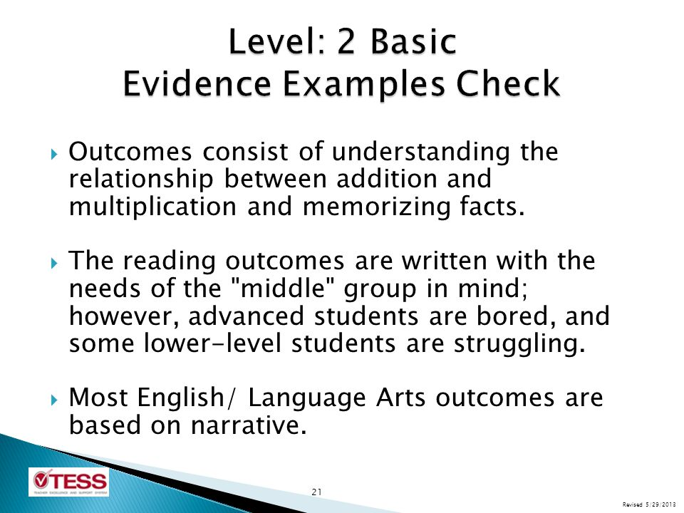 Level: 2 Basic Evidence Examples Check