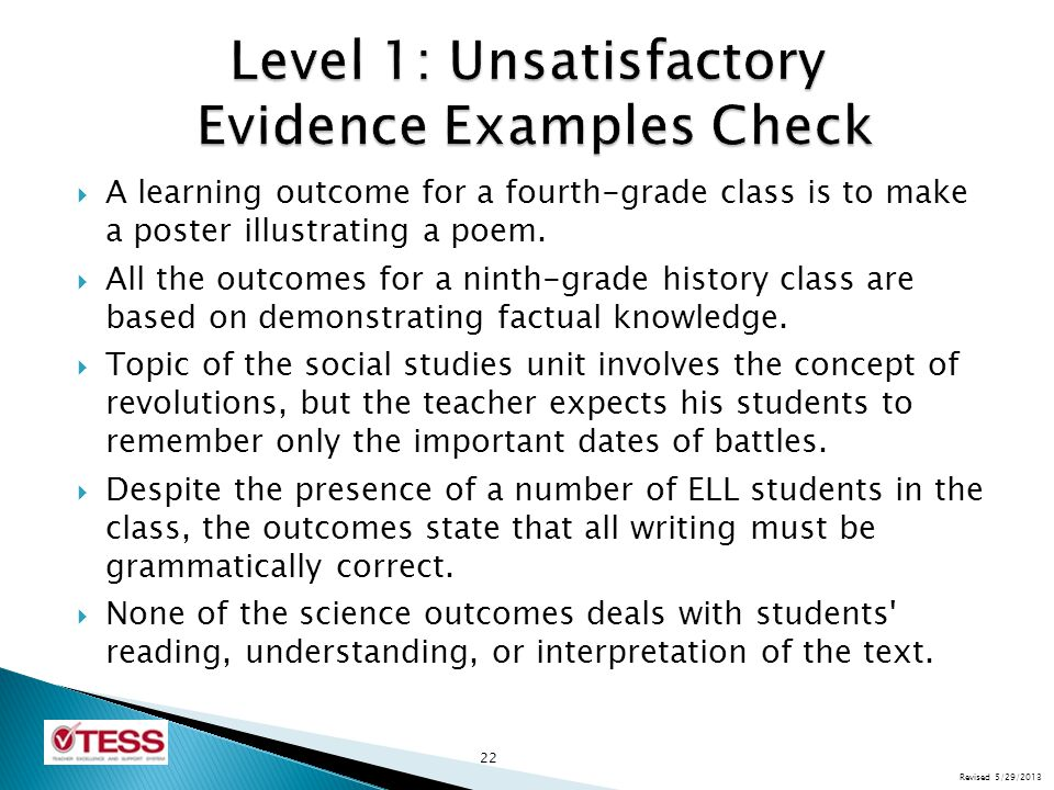 Level 1: Unsatisfactory Evidence Examples Check