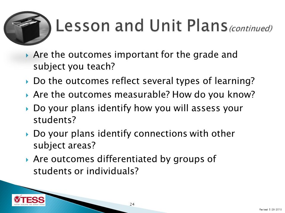 Lesson and Unit Plans(continued)