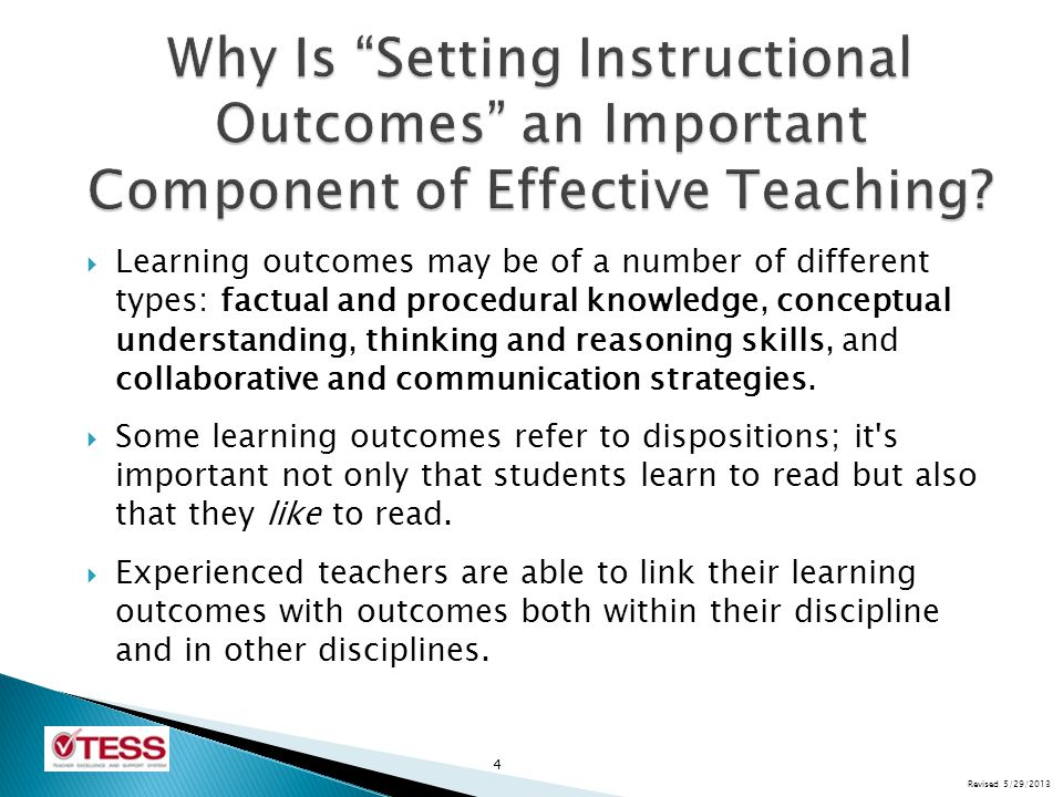 Why Is Setting Instructional Outcomes an Important Component of Effective Teaching