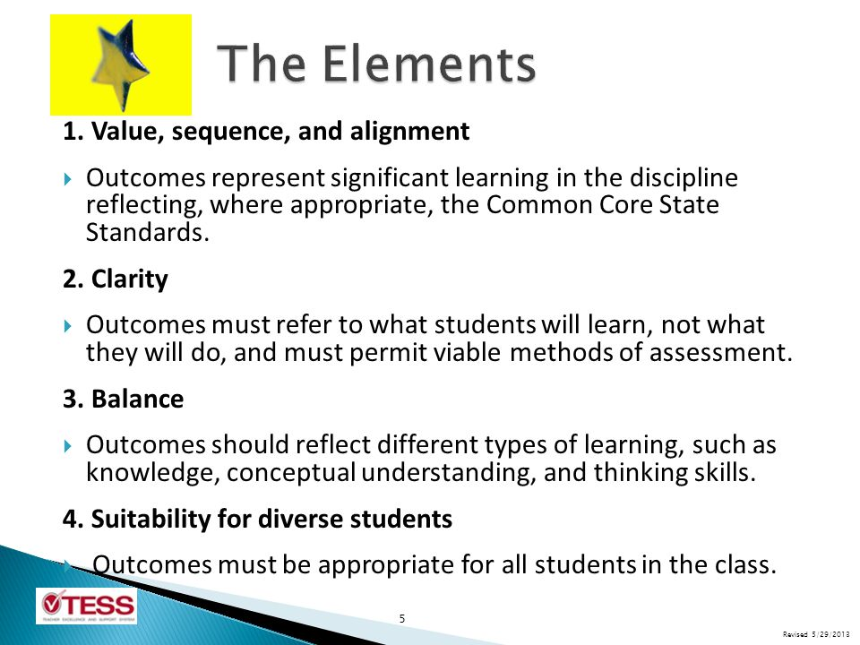 The Elements 1. Value, sequence, and alignment