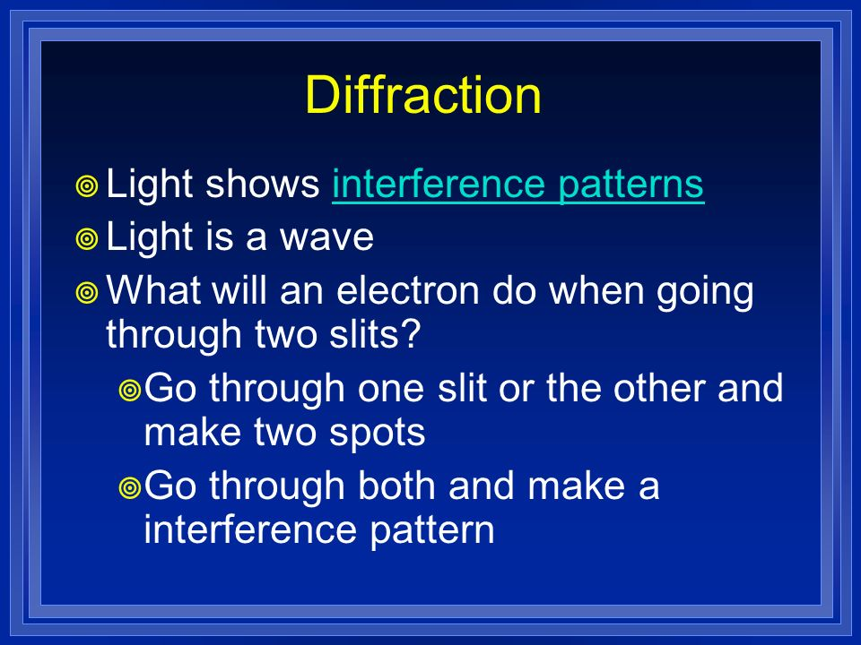 Diffraction Light shows interference patterns Light is a wave