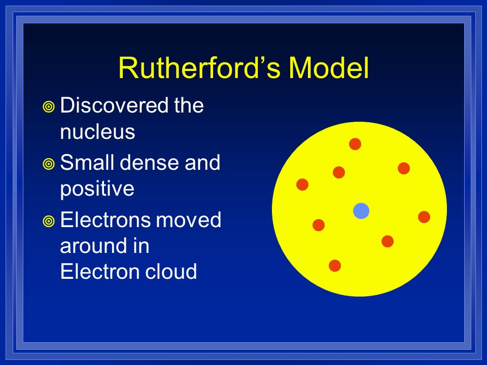 Rutherford's Model Discovered the nucleus Small dense and positive