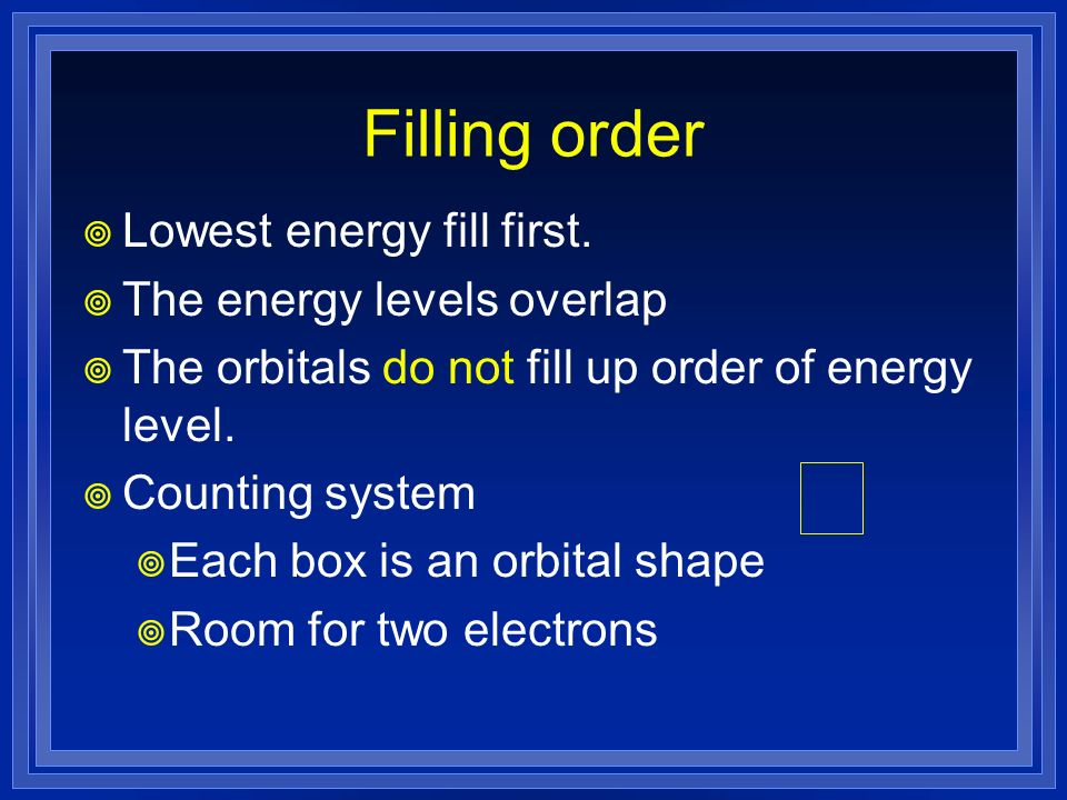 Filling order Lowest energy fill first. The energy levels overlap