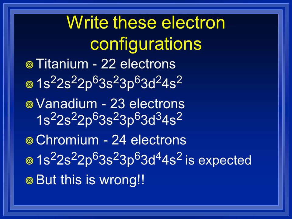 Write these electron configurations
