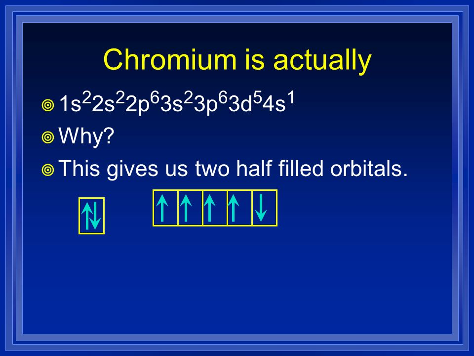 Chromium is actually 1s22s22p63s23p63d54s1 Why
