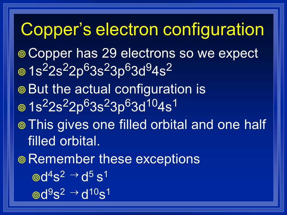 Copper's electron configuration