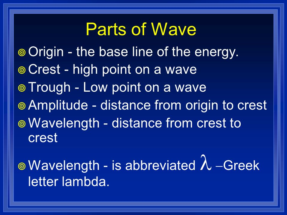 Parts of Wave Origin - the base line of the energy.