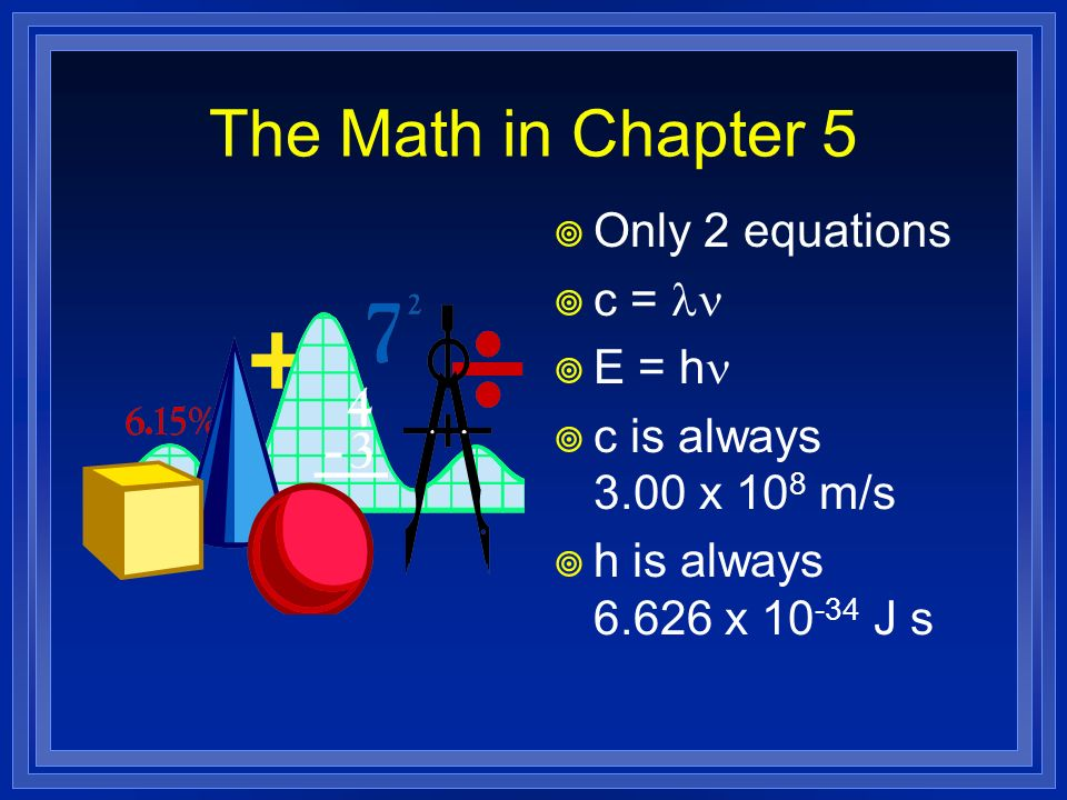 The Math in Chapter 5 Only 2 equations c = ln E = hn