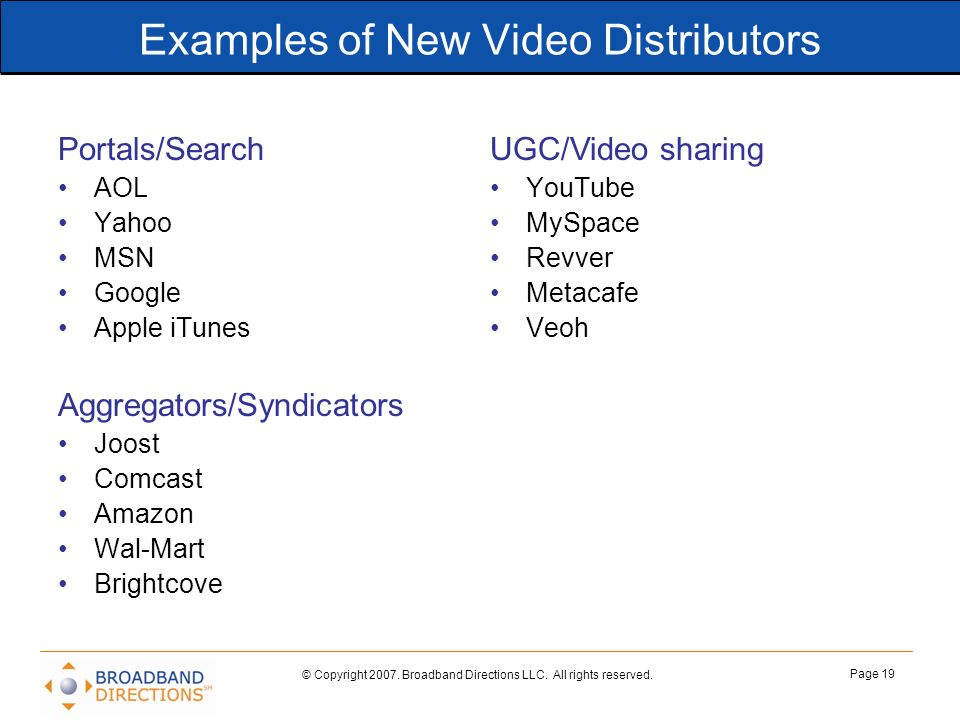 Examples of New Video Distributors